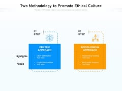 Two Methodology To Promote Ethical Culture Ppt PowerPoint Presentation Inspiration Information PDF