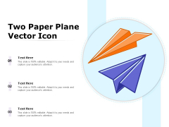 Two Paper Plane Vector Icon Ppt PowerPoint Presentation Ideas Demonstration PDF
