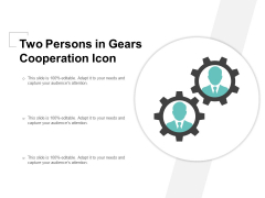 Two Persons In Gears Cooperation Icon Ppt PowerPoint Presentation File Elements