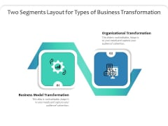 Two Segments Layout For Types Of Business Transformation Ppt PowerPoint Presentation File Graphic Tips PDF