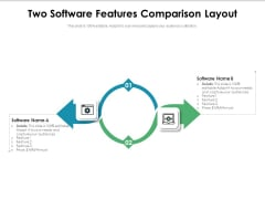 Two Software Features Comparison Layout Ppt PowerPoint Presentation Slides Graphics Download PDF