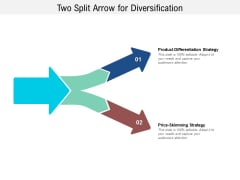 Two Split Arrow For Diversification Ppt PowerPoint Presentation Infographic Template Layouts