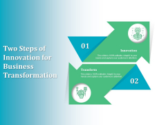 Two Steps Of Innovation For Business Transformation Ppt PowerPoint Presentation Gallery Graphics Example PDF