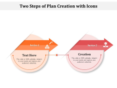 Two Steps Of Plan Creation With Icons Ppt PowerPoint Presentation File Deck PDF