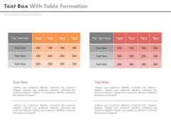 Two Table Charts For Business Data Powerpoint Slides
