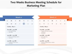 Two Weeks Business Meeting Schedule For Marketing Plan Ppt PowerPoint Presentation Slides Summary PDF