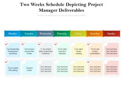 Two Weeks Schedule Depicting Project Manager Deliverables Ppt PowerPoint Presentation Model Picture PDF