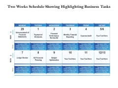 Two Weeks Schedule Showing Highlighting Business Tasks Ppt PowerPoint Presentation Pictures Background Designs PDF