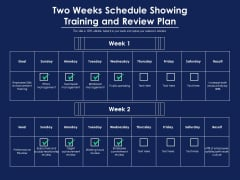 Two Weeks Schedule Showing Training And Review Plan Ppt PowerPoint Presentation Ideas Graphic Tips PDF