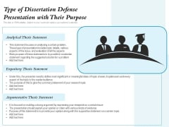 Type Of Dissertation Defense Presentation With Their Purpose Ppt PowerPoint Presentation Infographics Graphics Example PDF
