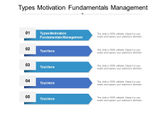 Types Motivation Fundamentals Management Ppt PowerPoint Presentation Model Files Cpb