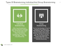 Types Of Brainstorming Individual And Group Brainstorming Ppt PowerPoint Presentation Inspiration Deck
