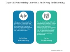 Types Of Brainstorming Individual And Group Brainstorming Ppt PowerPoint Presentation Visuals