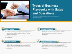 Types Of Business Playbooks With Sales And Operations Ppt PowerPoint Presentation Icon Pictures PDF