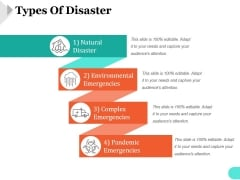 Types Of Disaster Template 2 Ppt PowerPoint Presentation Designs Download
