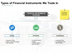 Types Of Financial Instruments We Trade In Ppt PowerPoint Presentation Show Example File
