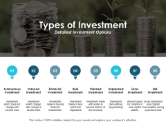 Types Of Investment Detailed Investment Options Ppt PowerPoint Presentation Pictures Graphics Tutorials