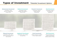 Types Of Investment Detailed Investment Options Ppt PowerPoint Presentation Pictures Master Slide