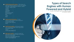 Types Of Search Engines With Human Powered And Hybrid Ppt PowerPoint Presentation Infographics Objects PDF