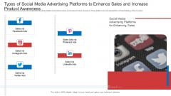 Types Of Social Media Advertising Platforms To Enhance Sales And Increase Product Awareness Background PDF