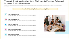 Types Of Social Media Advertising Platforms To Enhance Sales And Increase Product Awareness Pictures PDF