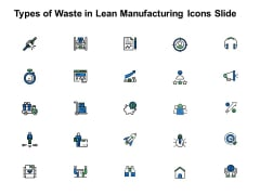 Types Of Waste In Lean Manufacturing Icons Slide Growth Arrow Ppt PowerPoint Presentation Ideas Mockup