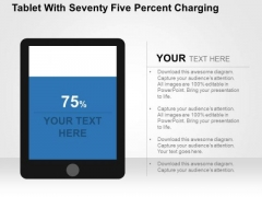 Tablet With Seventy Five Percent Charging PowerPoint Template