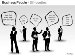 Talking Business People Silhouettes PowerPoint Slides And Ppt Diagram Templates