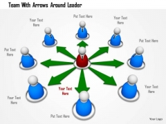 Team With Arrows Around Leader PowerPoint Templates