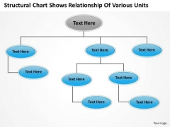 Template For Organizational Chart Shows Relationship Of Various Units PowerPoint Templates
