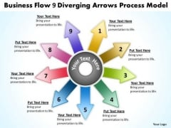 Templates Flow 9 Diverging Arrows Process Model Circular PowerPoint Slides