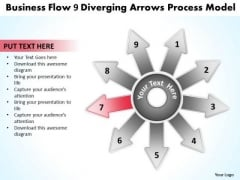 Templates Flow 9 Diverging Arrows Process Model Cycle Chart PowerPoint