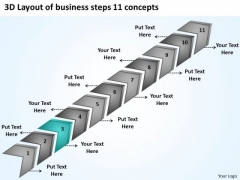 Templates Steps 11 Concepts Examples Of Business Plans For Small PowerPoint Slides