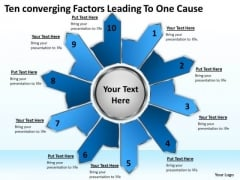 Ten Converging Factors Leading One Cause Circular Spoke Diagram PowerPoint Templates