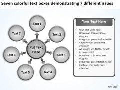 Text Boxes Demonstrating 7 Different Issues Circular Diagram PowerPoint Templates