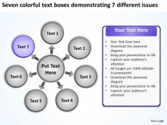Text Boxes Demonstrating 7 Different Issues Circular Flow Diagram PowerPoint Templates