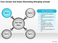 Text Boxes Illustrating Diverging Concept Cycle Circular Flow Spoke Diagram PowerPoint Slides