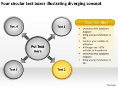 Text Boxes Illustrating Diverging Concept Ppt Circular Flow Spoke Diagram PowerPoint Slides