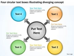 Text Boxes Illustrating Diverging Concept Processs And PowerPoint Templates