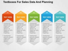 Textboxes For Sales Data And Planning PowerPoint Template