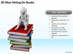 The Business People 3d Man Sitting On Books PowerPoint Slides