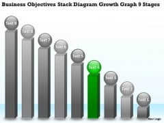 Theme Objectives Stack Diagram Growth Graph 9 Stages Business Plan PowerPoint Slides