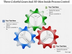 Three Colorful Gears And 3d Men Inside Process Control