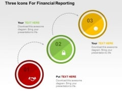 Three Icons For Financial Reporting PowerPoint Template