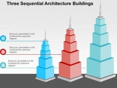 Three Sequential Architecture Buildings PowerPoint Template