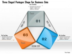 Three Staged Pentagon Shape For Business Data Presentation Template
