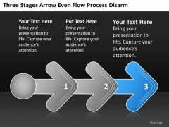 Three Stages Arrow Even Flow Process Digarm Free Business Plan PowerPoint Templates