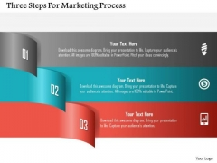 Three Steps For Marketing Process PowerPoint Template