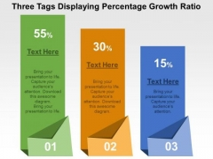 Three Tags Displaying Percentage Growth Ratio PowerPoint Template