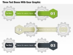 Three Text Boxes With Gear Graphic Presentation Template